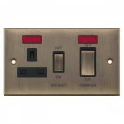 Selectric 5M Antique Brass 45A DP Switch and 13A Switched Socket with Neon and Black Insert