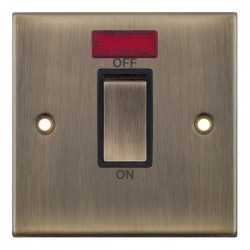 Selectric 5M Antique Brass 1 Gang 45A DP Switch with Neon and Black Insert