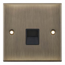 Selectric 5M Antique Brass 1 Gang Telephone Secondary Socket with Black Insert