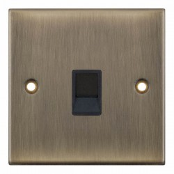 Selectric 5M Antique Brass 1 Gang RJ45 Data Socket with Black Insert