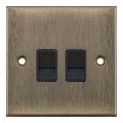 Selectric 5M Antique Brass 2 Gang RJ45 Data Socket with Black Insert