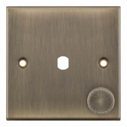 Selectric 5M Antique Brass 1 Gang Single Aperture Dimmer Plate with Matching Knob