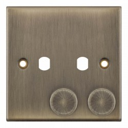 Selectric 5M Antique Brass 1 Gang Twin Aperture Dimmer Plate with Matching Knobs
