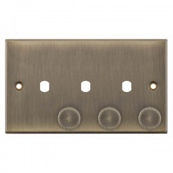 Selectric 5M Antique Brass 2 Gang Triple Aperture Dimmer Plate with Matching Knobs
