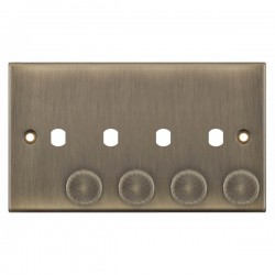 Selectric 5M Antique Brass 2 Gang Quad Aperture Dimmer Plate with Matching Knobs