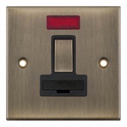 Selectric 5M Antique Brass 13A DP Switched Fused Connection Unit with Neon and Black Insert