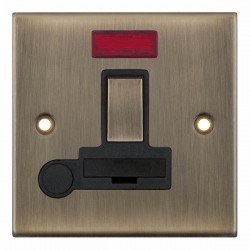 Selectric 5M Antique Brass 13A DP Switched Fused Connection Unit with Flex Outlet, Neon, and Black Insert