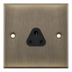 Selectric 5M Antique Brass 1 Gang 2A Round Pin Socket with Black Insert