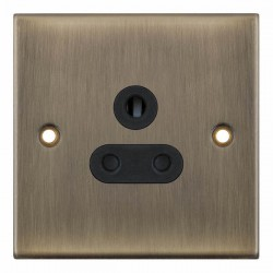 Selectric 5M Antique Brass 1 Gang 5A Round Pin Socket with Black Insert