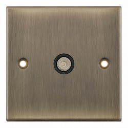 Selectric 5M Antique Brass 1 Gang TV Socket with Black Insert