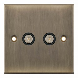 Selectric 5M Antique Brass 2 Gang TV/FM Socket with Black Insert