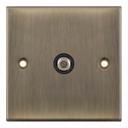 Selectric 5M Antique Brass 1 Gang Satellite Socket with Black Insert