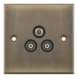 Selectric 5M Antique Brass Triplex Sat/TV/FM Socket with Black Insert