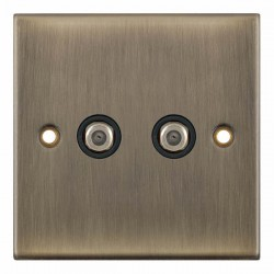 Selectric 5M Antique Brass 2 Gang Satellite Socket with Black Insert