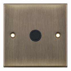 Selectric 5M Antique Brass 20A Centre Entry Flex Outlet with Black Insert