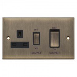 Selectric 5M Antique Brass 45A DP Switch and 13A Switched Socket with Black Insert