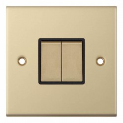 Selectric 5M Satin Brass 2 Gang 10A 2 Way Switch with Black Insert