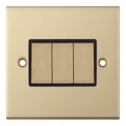 Selectric 5M Satin Brass 3 Gang 10A 2 Way Switch with Black Insert