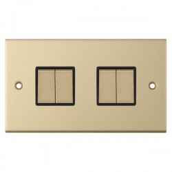 Selectric 5M Satin Brass 4 Gang 10A 2 Way Switch with Black Insert