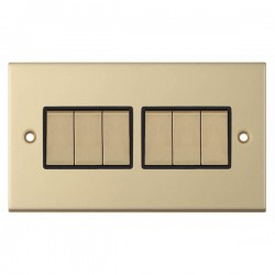 Selectric 5M Satin Brass 6 Gang 10A 2 Way Switch with Black Insert