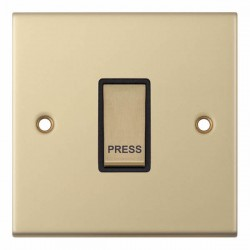 Selectric 5M Satin Brass 1 Gang 10A Push to Make Switch with Black Insert