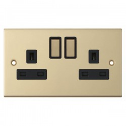 Selectric 5M Satin Brass 2 Gang 13A DP Switched Socket with Black Insert