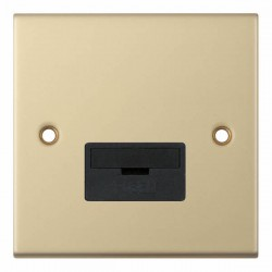 Selectric 5M Satin Brass 13A Fused Connection Unit with Black Insert