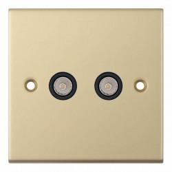 Selectric 5M Satin Brass 2 Gang TV/FM Socket with Black Insert