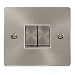 Click Define Brushed Steel Flat Plate Double Light Switch with White Insert