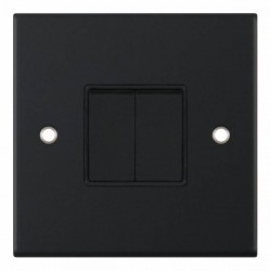 Selectric 5M Matt Black 2 Gang 10A 2 Way Switch with Black Insert