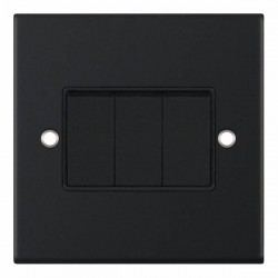 Selectric 5M Matt Black 3 Gang 10A 2 Way Switch with Black Insert
