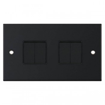 Selectric 5M Matt Black 4 Gang 10A 2 Way Switch with Black Insert