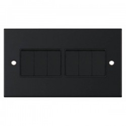 Selectric 5M Matt Black 6 Gang 10A 2 Way Switch with Black Insert