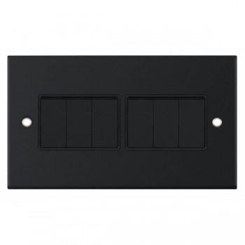 Selectric 5M Matt Black 6 Gang 10A 2 Way Switch with Black Insert