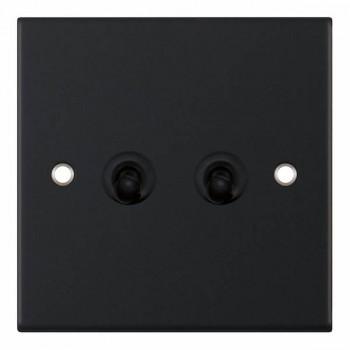 Selectric 5M Matt Black 2 Gang 10A 2 Way Toggle Switch