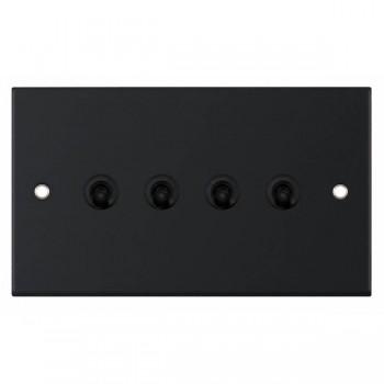 Selectric 5M Matt Black 4 Gang 10A 2 Way Toggle Switch