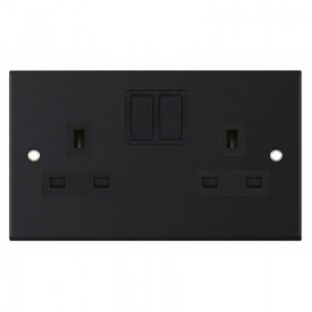 Selectric 5M Matt Black 2 Gang 13A Switched Socket with Black Insert
