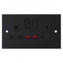Selectric 5M Matt Black 2 Gang 13A DP Switched Socket with Neon and Black Insert