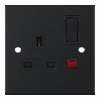 Selectric 5M Matt Black 1 Gang 13A DP Switched Socket with Neon and Black Insert