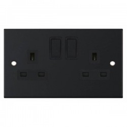 Selectric 5M Matt Black 2 Gang 13A DP Switched Socket with Black Insert