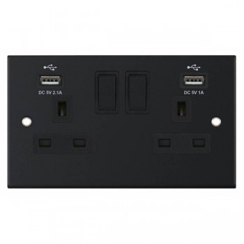 Selectric 5M Matt Black 2 Gang 13A Switched Socket with USB Outlet and Black Insert