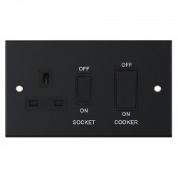 Selectric 5M Matt Black 45A DP Switch and 13A Switched Socket with Black Insert
