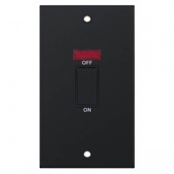 Selectric 5M Matt Black 2 Gang 45A DP Switch with Neon and Black Insert