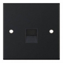Selectric 5M Matt Black 1 Gang Telephone Secondary Socket with Black Insert