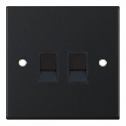 Selectric 5M Matt Black 2 Gang RJ45 Data Socket with Black Insert