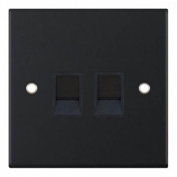 Selectric 5M Matt Black 2 Gang RJ45 Data Socket with Black Insert
