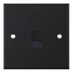 Selectric 5M Matt Black 1 Gang RJ11 Socket with Black Insert