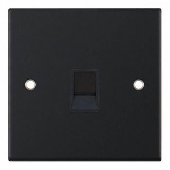 Selectric 5M Matt Black 1 Gang RJ11 Socket with Black Insert