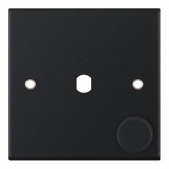 Selectric 5M Matt Black 1 Gang Single Aperture Dimmer Plate with Matching Knob