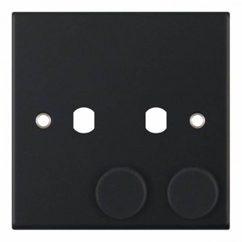Selectric 5M Matt Black 1 Gang Twin Aperture Dimmer Plate with Matching Knobs